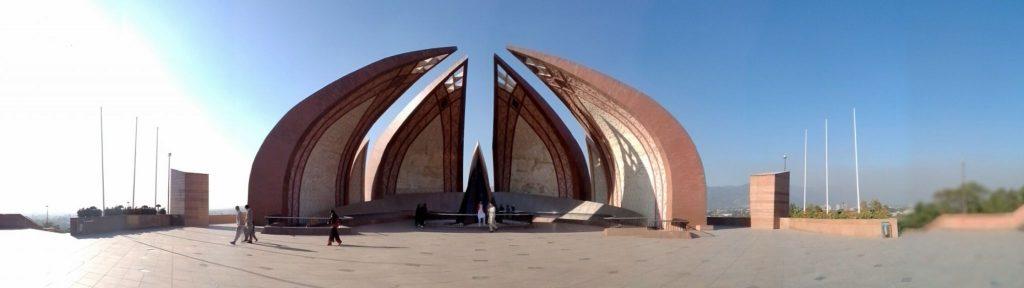 Panorama z widokiem na Pomnik Pakistanu w Islamabadzie