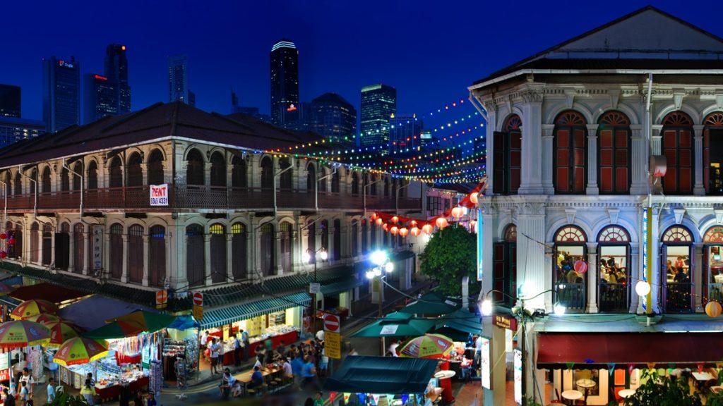 Panorama na dzielnicę Chinatown w Singapurze