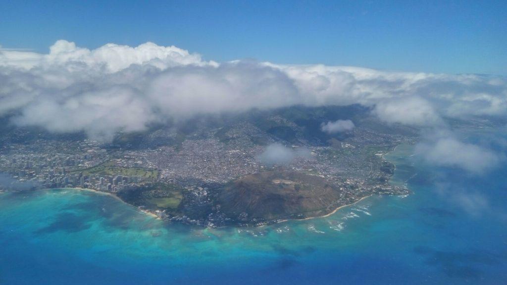 Widok na wyspę Hawaii z lotu ptaka