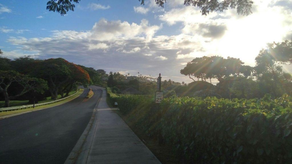 Droga na wyspie Maui, widok w stronę miejscowości Lahaina. Maui, Hawaje