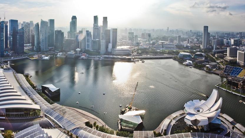 Widok z dachu hotelu Marina Bay Sands