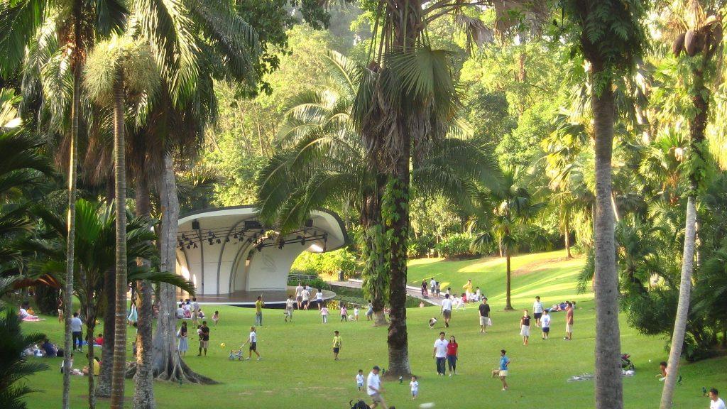 Widok na scenę w Ogrodzie Botanicznym w SIngapurze