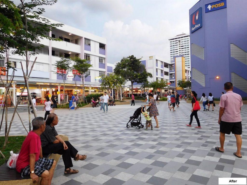 HDB town center - każde osiedle ma swoje małe miasteczko gdzie można wybrać się na zakupy - na zdjęciu jedno ze starszych centrów tuż po remoncie
