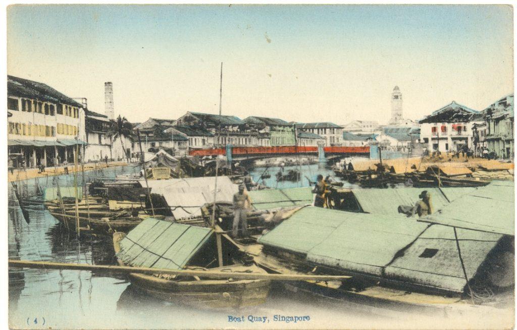 Widok na rzekę na pocztówce z Singapuru około 1900 roku
