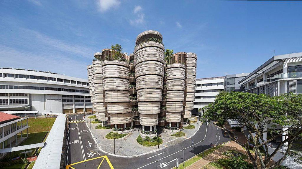 Zbliżenie na the Learning Hub - część Uniwersytetu Technologicznego Nanyang - Architektura Singapuru