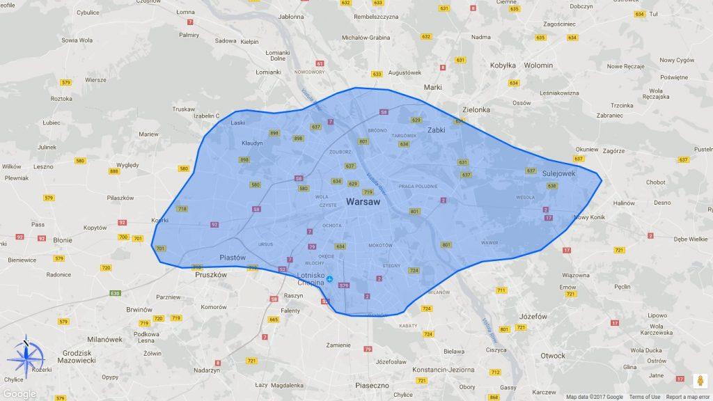 Rozmiar Singapuru na tle mapy Warszawy która jest prawie dwa razy większa