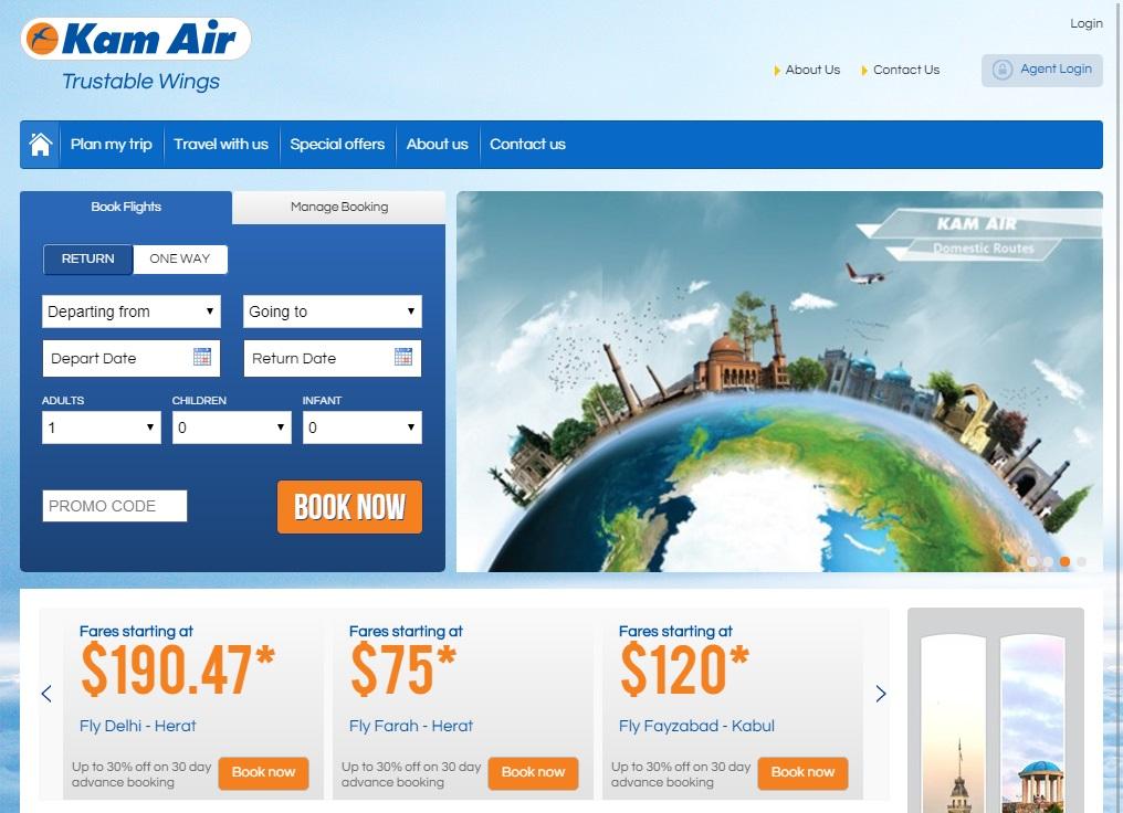 Strona internetowa Kam Air