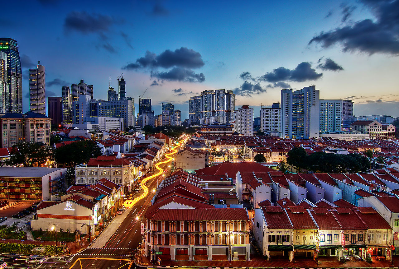 Chinatown w Singapurze widziane z góry