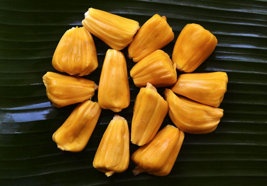 Oddzielone cząstki owocu Dżakfrut lub też Chlebowca Różnolistnego