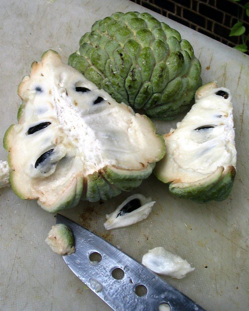Tak wyglada środek owocu o nazwie soursop lub Guanabana