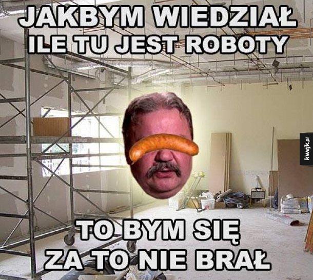 Mem z typowym Januszem narzekającym na remont